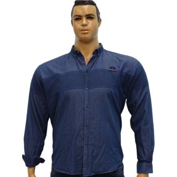 C. Kék, hímzett farmer hosszú ujjú ing