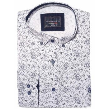 B. Fehér, kék virágos hosszú ujjú ing