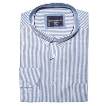 B. Kék fehér csíkos hosszú ujjú ing