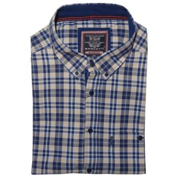 B. Kék-drapp kockás hosszú ujjú ing