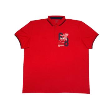 Piros galléros rövid ujjú póló