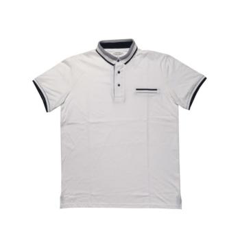 T. Fehér-fekete, zsebes galléros rövid ujjú póló