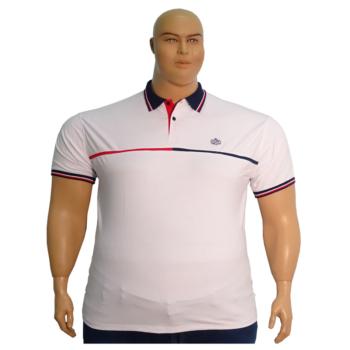T. Fehér, sötétkék galléros rövid ujjú póló