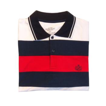T. Kék-piros csíkos, galléros rövid ujjú póló