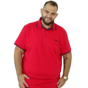 T. Piros, mintás galléros rövid ujjú póló