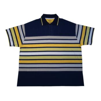 T. Sötétkék sárga csíkos galléros rövid ujjú póló