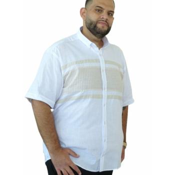 B. Világosbarna-fehér vászon rövid ujjú ing