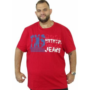T. Piros feliratos, rövid ujjú póló